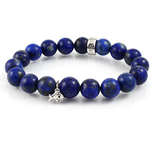 Lapis Lazuli Stretch Beaded and S925 hardware Bracelet