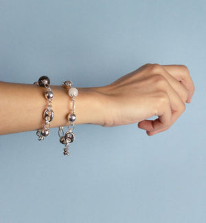 Silver Charm Bracelet with Labradorite 12mm Gemstone