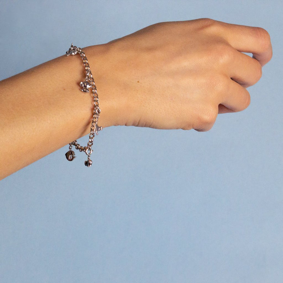 Sterling silver charm bracelet representing your commitment to protecting these critically endangered species and their habitats.  Price includes 5 animal charms