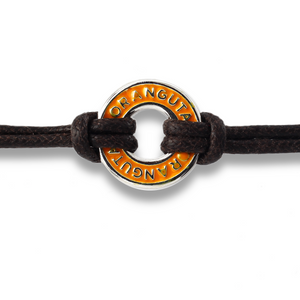 Xtinctio Bracelet - Individually hand forged in Italy from White Bronze and orange Etruscan Enamel in honor of the critically endangered Orangutan  Eco friendly cotton linen blend waxed cord sourced in Italy.