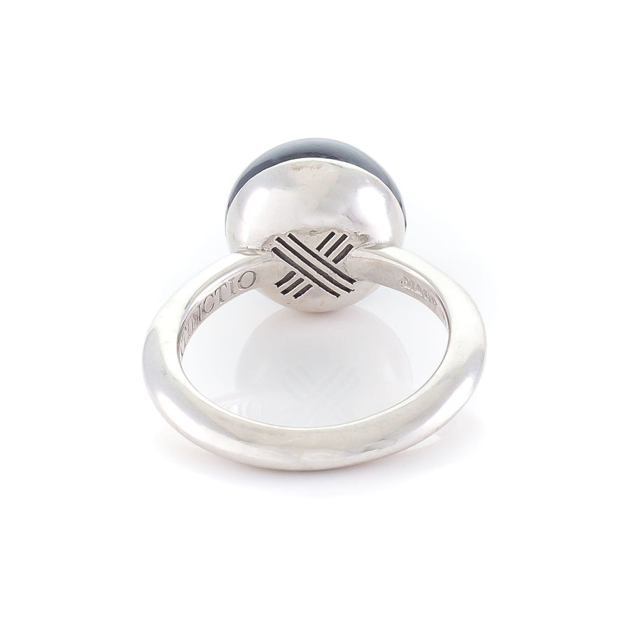 Xtinctio - This Etruscan Sphere  Ring is hand made in Italy by a 3rd generation goldsmith using 925 Silver and enamel.  Engraved with our X logo, it is a positive reminder of our connection to every living thing in this age of extinction. Our partner in Rhinoceros