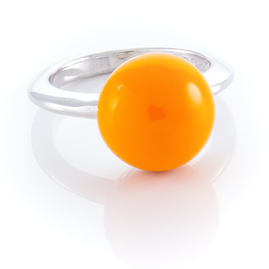Xtinctio - This Etruscan Sphere ring is Hand Made in Italy by a 3rd generation Goldsmith.  Eco conscious 925 Silver and enamel. Imbued with the spirit of the orangutan