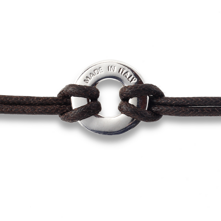 Xtinctio Bracelet - Individually hand forged in Italy from White Bronze and navy Etruscan Enamel in honor of the critically endangered Whale  Eco friendly cotton linen blend waxed cord sourced in Italy.