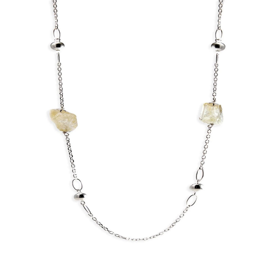 Long Silver Necklace with Raw Citrine Gemstone