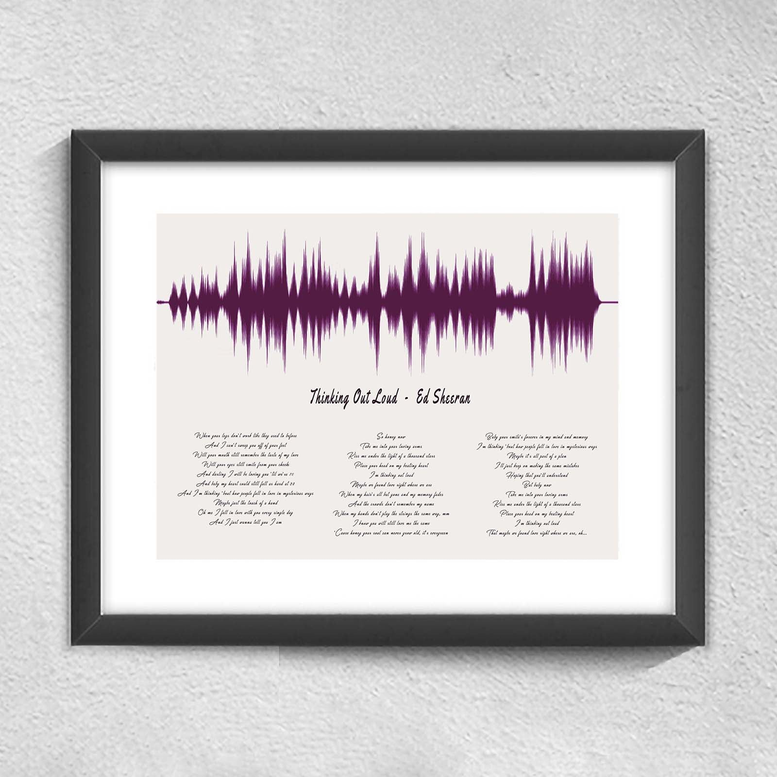 1st Anniversary Gift Wedding Song Sound Wave Lyrics First Dance Sound Wave