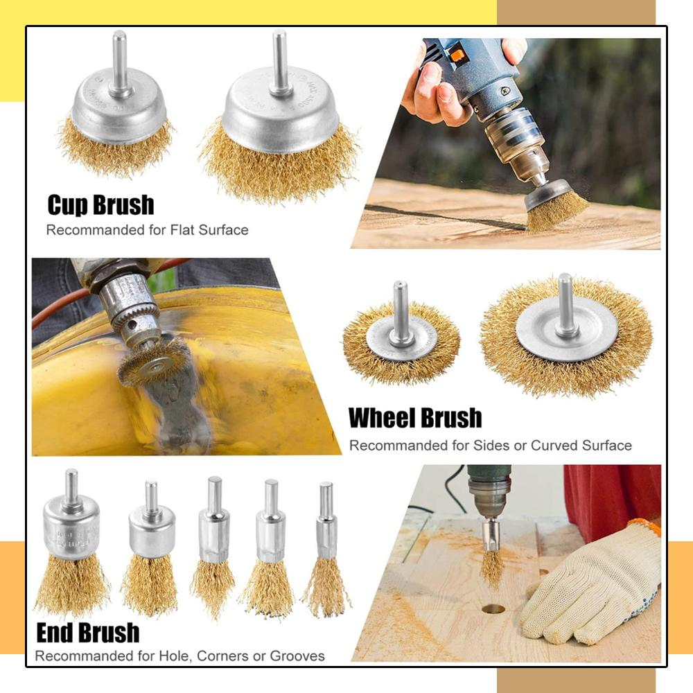 9pcs Wire Drill Brush Set