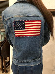 raulph lauren jean jacket with flag