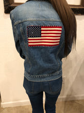 Load image into Gallery viewer, raulph lauren jean jacket with flag