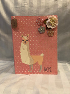 llama journal with flower charms