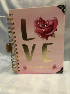 pink rose love journal