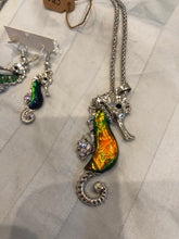 Load image into Gallery viewer, seahorse necklace and earring set (from Hawaii)