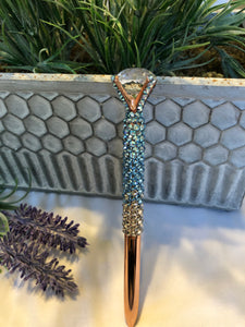glass diamond top pen (aquamarine Ombre) rose gold base