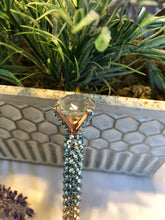 Load image into Gallery viewer, glass diamond top pen (aquamarine Ombre) rose gold base