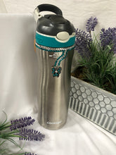 Load image into Gallery viewer, silver water bottle with butterfly charm