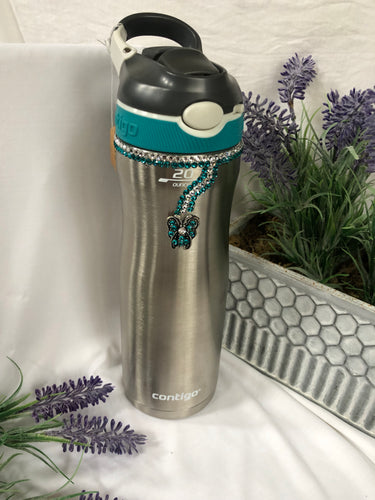 silver water bottle with butterfly charm