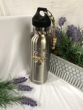 Load image into Gallery viewer, silver water bottle with bow charm