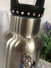 Load image into Gallery viewer, silver water bottle with floral and bird charm