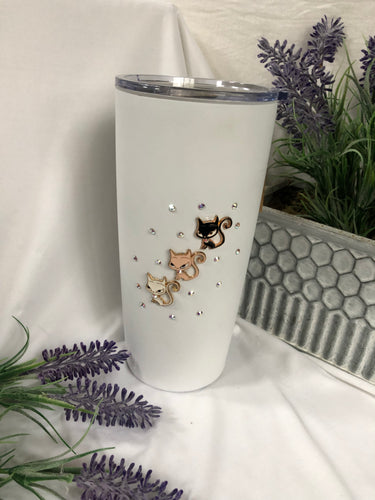white insulated coffee/water cup with cat charms