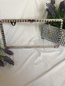 heart and flowers license plate frame