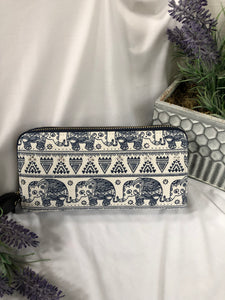 blue and white elephant wallet