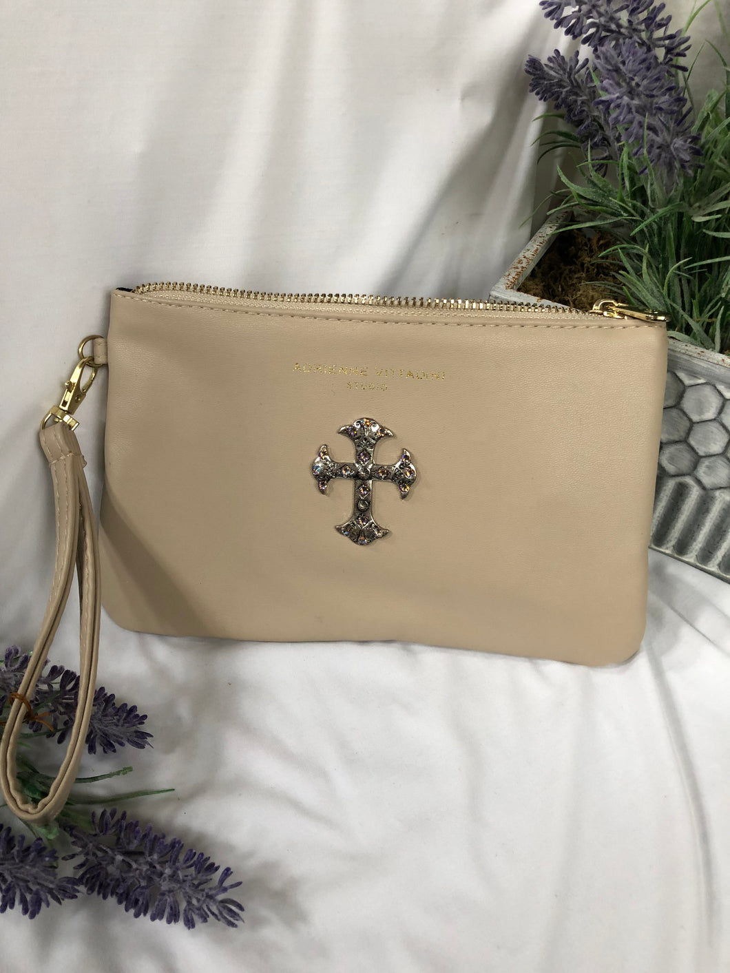 lt tan charger wallet with cross charm