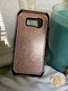 rose gold /black glitter phone case