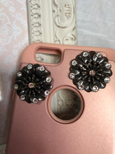 Load image into Gallery viewer, rose gold phone case with flower charms