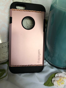rose gold and black phone case