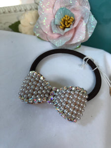 bow pony tail holder (brown band)