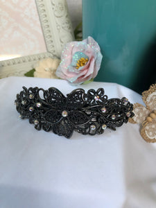 flower hair clip (black)