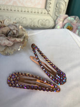 Load image into Gallery viewer, rose gold base hair clips with pinkish/purple