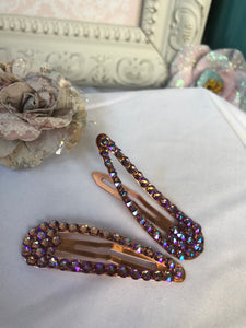 rose gold base hair clips with pinkish/purple