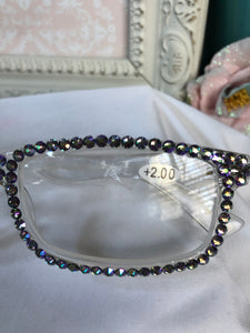 reading glasses (clear base with paradise shine)