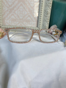 reading glasses (clear base with ochre delight)