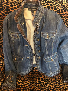 International concepts repurposed jean jacket with heart