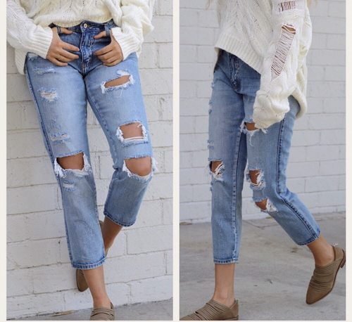 Distroyed boyfriend denim jean pants