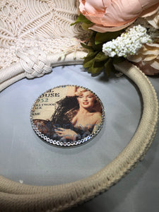 Compact Mirror with Marilyn Monroe and clear crystals