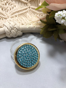 Container gold rim with lt turquoise