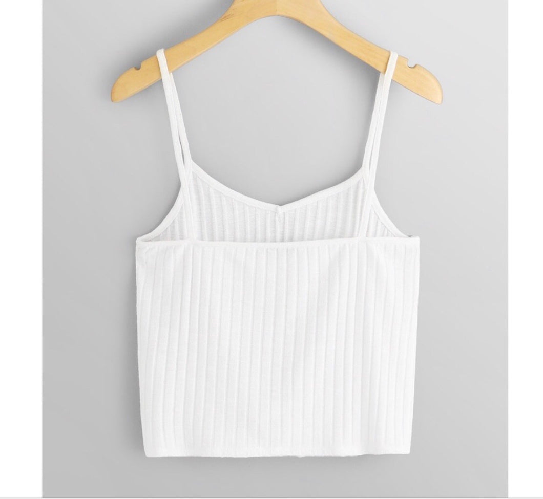 Ribbed tie front crop tank top