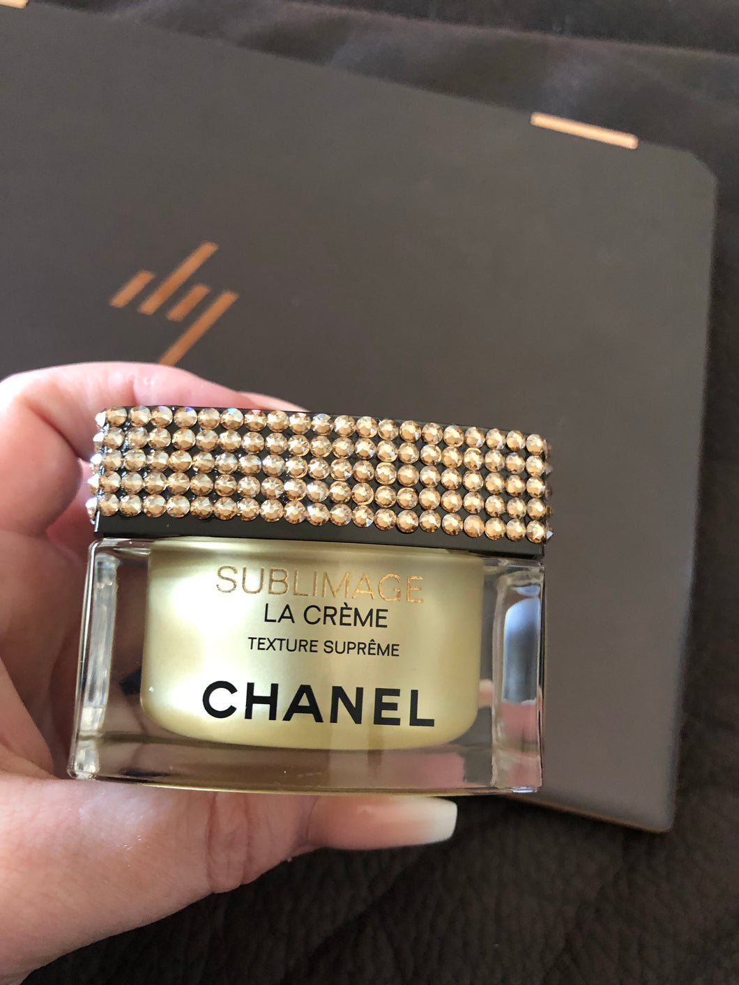 Swarovski embellished Chanel empty container