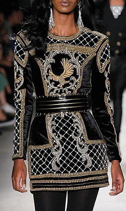 black beaded mini by Balmain