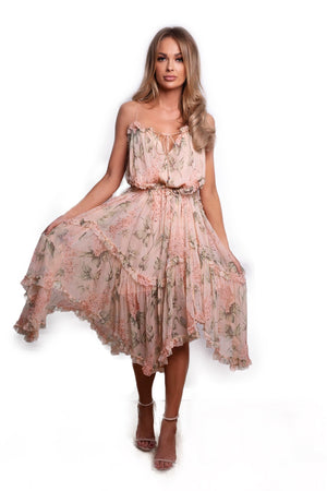 Assymetric floral print dress by Zimmermann