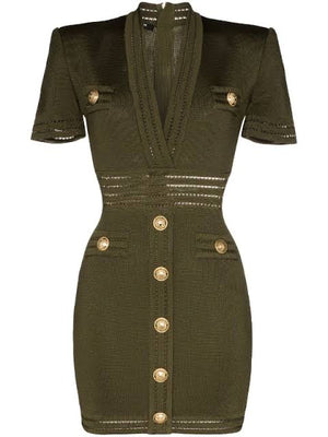 V neck button embellished dress by Balmain
