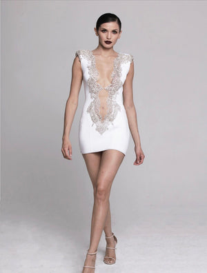 Leyla dress is white by ravissant