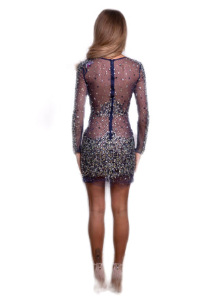 navy beaded mini by Jovani