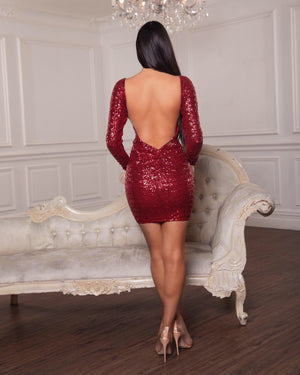 Mini red sequin dress by Amy Taylor