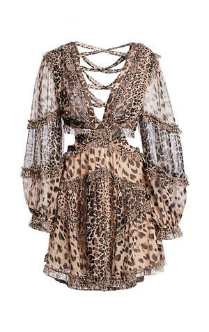 Allia leopard cutout dress