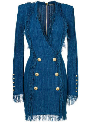 Double breasted frayed dress by Balmain