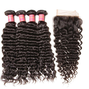 Vbena Malaysian Deep Wave Lace Closure with 4Bundles Hair Weave