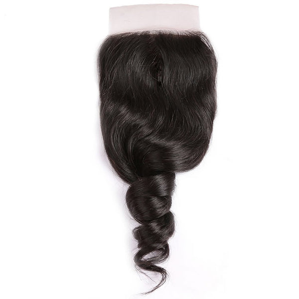 Vbena Brazilian Loose Wave Lace Closure 1Bundels Human Hair 4x4 Lace